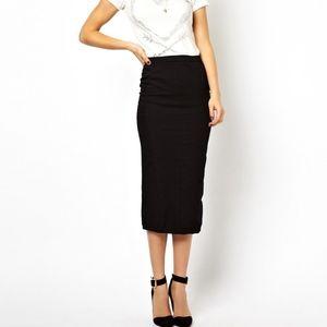 2B Bebe Solid Black Midi Pencil Stretch Skirt S